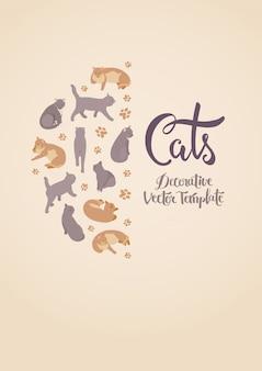 Modèle de décoration avec des chats