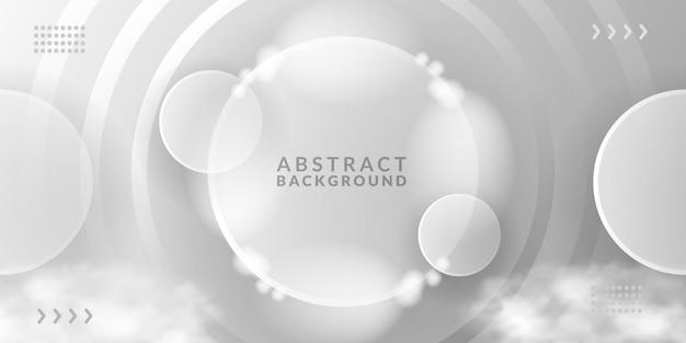 Modèle de décoration de fond d'espace blanc transparent en verre de cercle abstrait de luxe élégant