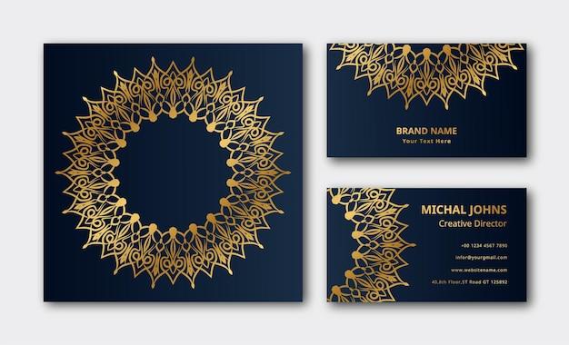 Modèle de décoration de mandala de carte de visite