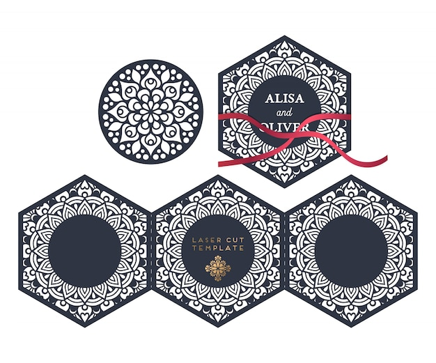 Modèle de découpe au laser de carte de mariage de vecteur