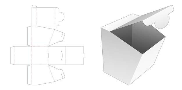 Modèle de découpe de boîte d'emballage de point d'ouverture en carton