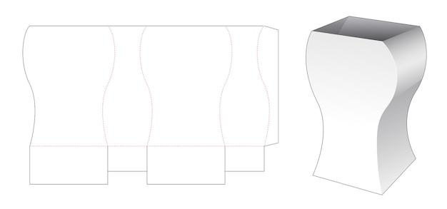 Modèle de découpe de boîte de papeterie courbe