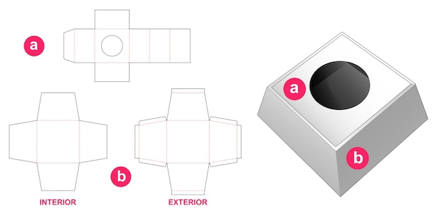 Modèle de découpe de boîte de présentation cosmétique