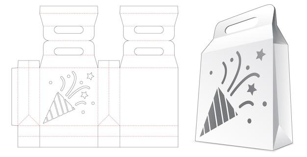 Modèle de découpe de confettis au pochoir de sac à provisions en carton