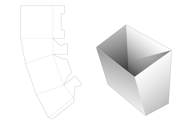 Modèle de découpe de conteneur de frites en carton