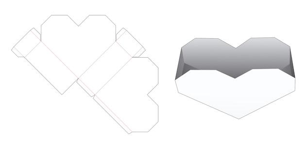 Modèle de découpe de récipient à collation en forme de coeur