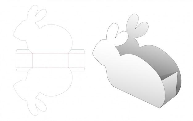 Modèle de découpe de récipient à collation en forme de lapin