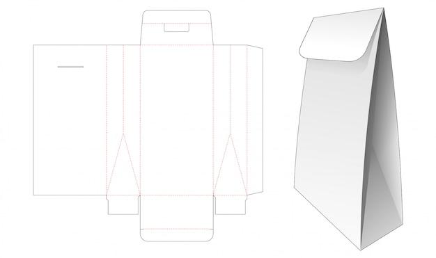 Modèle de découpe de sac à rabat en carton