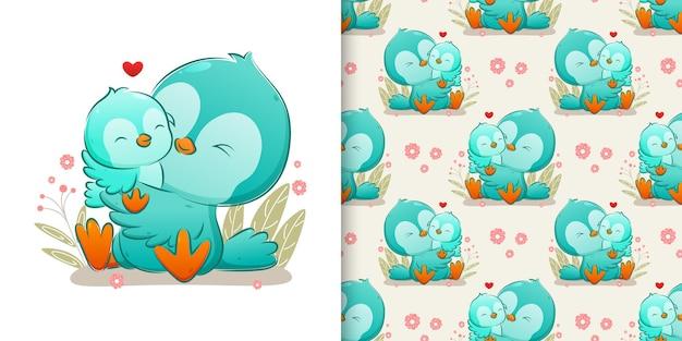 Le modèle défini oiseau de couleur famille étreignant et embrassant son bébé oiseau d'illustration