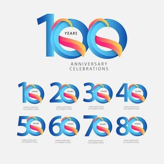 Modèle de dégradé bleu de célébrations d'anniversaire de 100 ans