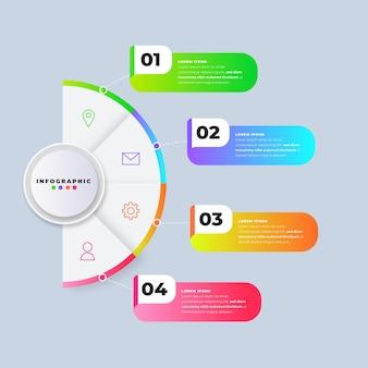 Modèle de dégradé d'étapes d'infographie
