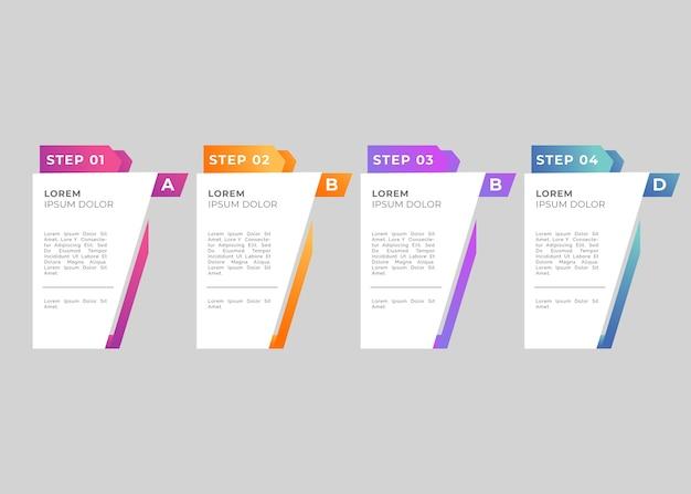 Modèle de dégradé infographique étapes