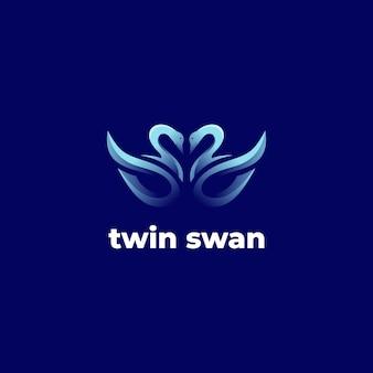 Modèle de dégradé de logo de cygne jumeau