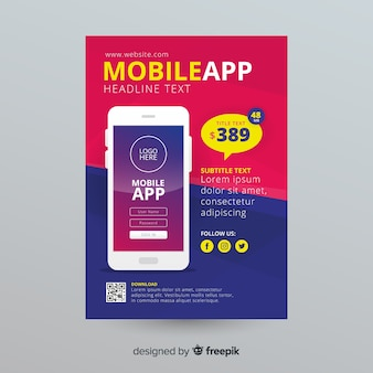 Modèle de dépliant d'application mobile