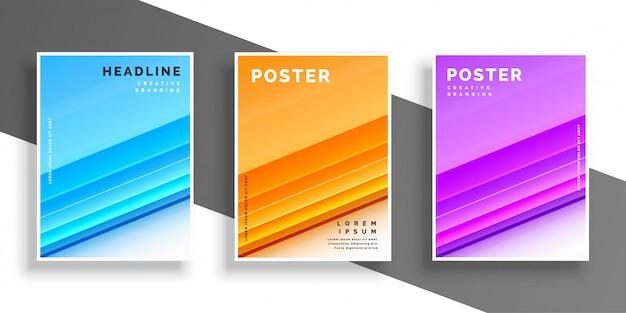 Modèle ou dépliant de conception de couverture moderne de trois couleurs