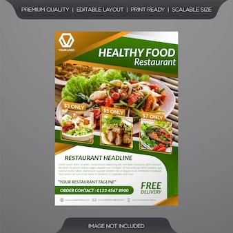 Modèle de dépliant de restaurant des aliments sains