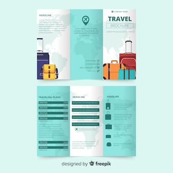 Modèle de dépliant à trois volets de voyage