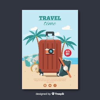 Modèle de dépliant de voyage plat