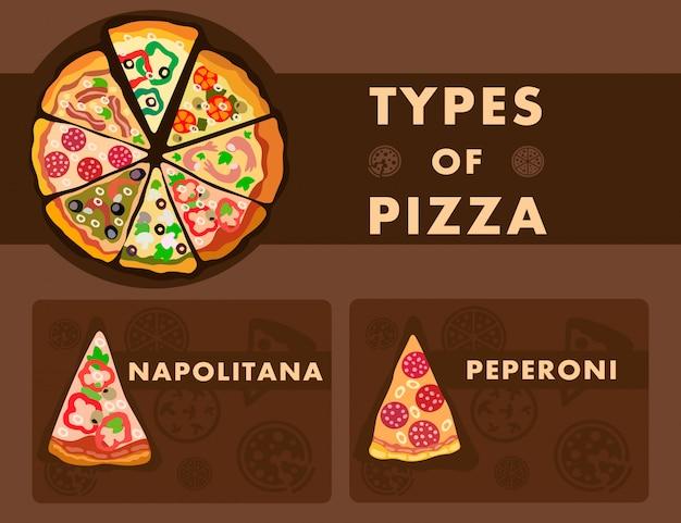 Modèle de dessin animé d'affiche de type de pizza