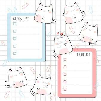 Modèle de dessin animé de chat mignon vérifier pour faire la liste