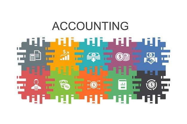 Modèle de dessin animé comptable avec des éléments plats. contient des icônes telles que actif, rapport annuel, revenu net, comptable