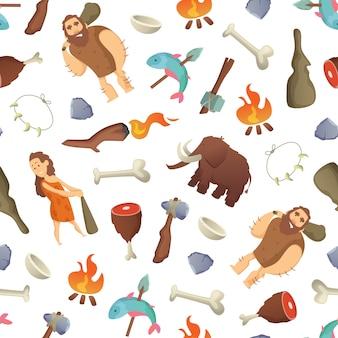 Modèle de dessin animé des hommes des cavernes