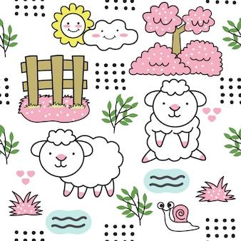 Modèle de dessin animé mignon bébé mouton