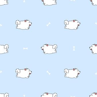 Modèle de dessin animé mignon chien samoyède en cours d'exécution