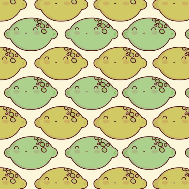 Modèle de dessin animé mignon citron agrumes