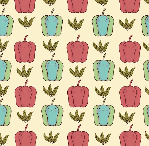 Modèle de dessin animé mignon légumes poivre