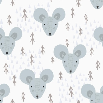 Modèle de dessin animé mignon avec des souris et des arbres