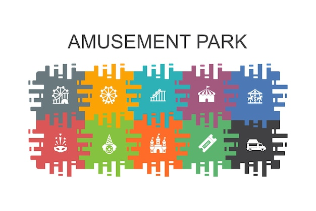 Modèle de dessin animé de parc d'attractions avec des éléments plats. contient des icônes telles que la grande roue, le carrousel, les montagnes russes, le carnaval