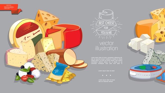Modèle de dessin animé de produits laitiers frais