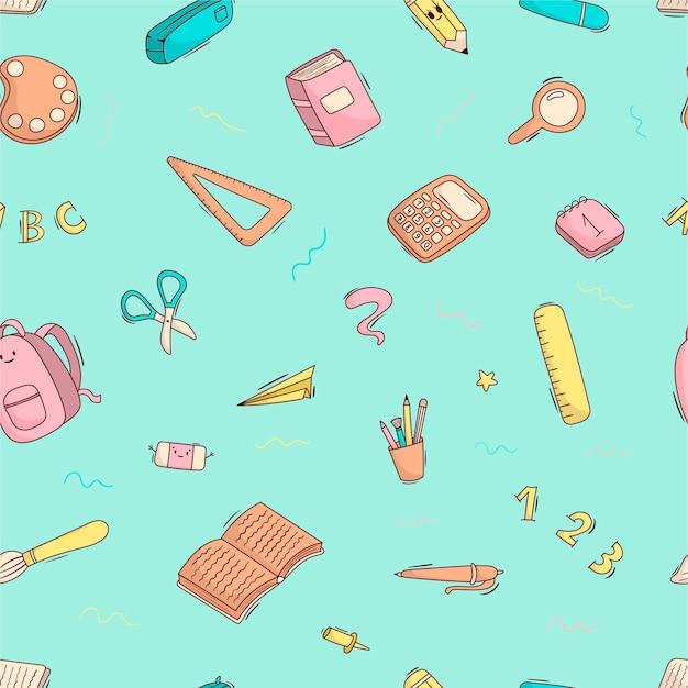 Modèle de dessin animé sans couture de fournitures scolaires et de papeterie