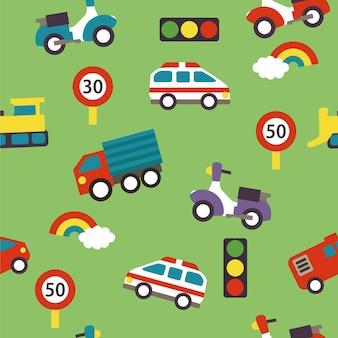 Modèle de dessin animé sans couture avec des panneaux de signalisation de voitures et des arcs-en-ciel illustration vectorielle