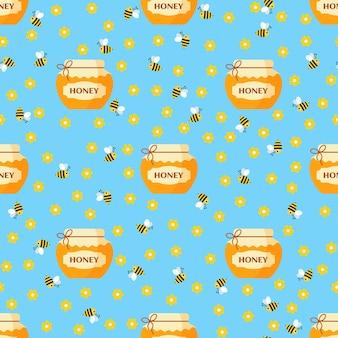 Modèle de dessin animé sans couture de vecteur avec pot de miel et d'abeilles sur fond bleu dans un style plat.