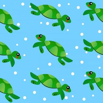 Modèle de dessin animé de tortue sans couture bébé enfant dessiner illustration et vecteur d'art comique