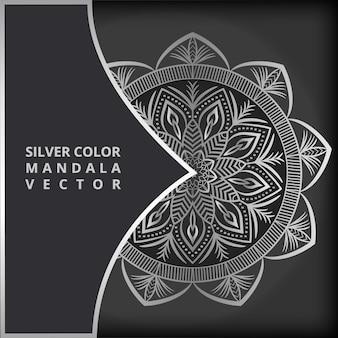 Modèle de dessin de mandala de luxe en couleur argent mandala illustration vector background