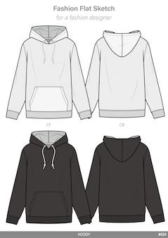 Modèle de dessin technique plat de mode hoody