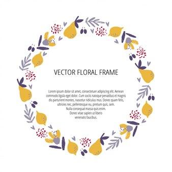 Modèle dessiné à la main de cadre floral. baies, fruits, branches et fleurs illustrations isolées. modèle de bordure de cercle botanique avec espace de texte. automne, harves