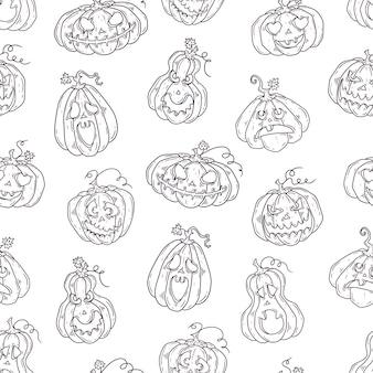 Modèle dessiné à la main avec des citrouilles d'halloween.