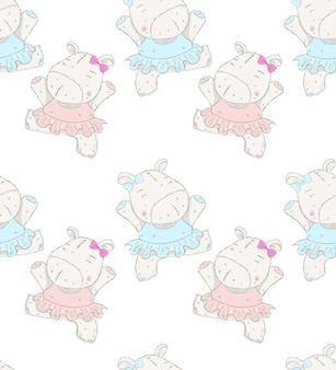 Modèle dessiné à la main de dessin animé mignon petit ballerine hippo