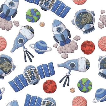 Modèle dessiné à la main des éléments de l'espace