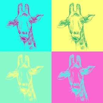 Modèle dessiné de main jolie girafe pop art. esquisse de la tête du visage de girafe