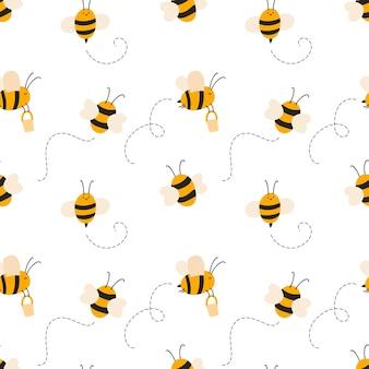 Modèle dessiné à la main sans couture enfant mignon avec des abeilles volantes. vector illustration bébé scandinave été