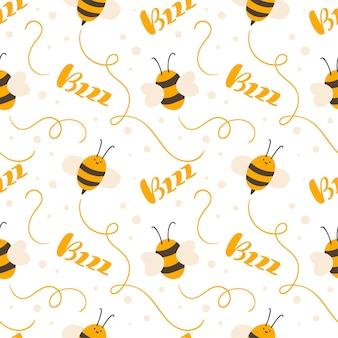 Modèle dessiné à la main sans couture d'enfant mignon avec le texte d'abeille et de calligraphie d'enfant volant bzzz. scandinave de vecteur