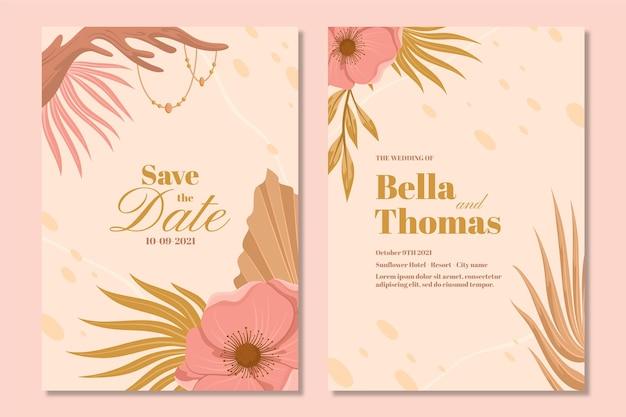 Modèle détaillé d'invitation de mariage boho