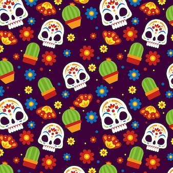 Modèle dia de muertos design plat