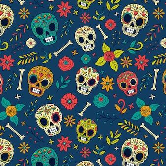 Modèle de dia de muertos dessiné à la main