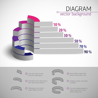 Modèle de diagramme d'entreprise multicolore avec descriptions et ratio de pourcentage